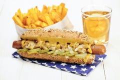Healthy Homemade Veggie Hot Dog (Tofu sausage) with cheese Stock Image