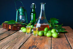 Healthy homemade walnut tincture stock photos