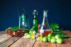 Healthy homemade walnut tincture stock photo