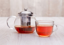 Healthy hot  tea on a wooden table Royalty Free Stock Images