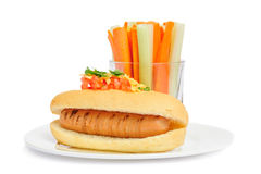 Healthy hotdog on plate isolated Royalty Free Stock Images
