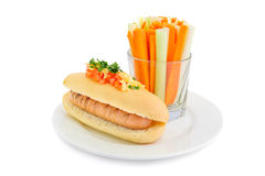 Healthy hotdog on plate isolated Stock Image