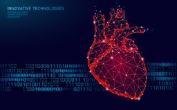 Healthy human heart beats 3d medicine model low poly. Triangle connected dots glow point red background. Pulse internal stock illustration