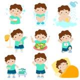 Healthy hygiene for boy cartoon. Cute brown skin boy have healthy hygiene take a bath,using the toilet Stock Photo