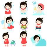 Healthy hygiene for girl cartoon. Cute black hair girl have healthy hygiene take a bath,using the toilet, eat healthy food, dress up,wound healing,sleep and vector illustration