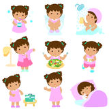 Healthy hygiene for girl cartoon. Cute brown skin girl have healthy hygiene take a bath,using the toilet, eat healthy food, dress up,wound healing,sleep and stock illustration
