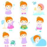 Healthy hygiene for girl cartoon. Cute copper hair girl have healthy hygiene take a bath,using the toilet Royalty Free Stock Photo