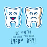 Healthy and ill teeth illustration Royalty Free Stock Image