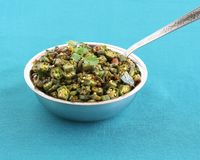 Okra Stir Fry or Lady`s Finger Curry. Healthy Indian vegetarian food okra stir fry or lady`s finger curry. This stir fry is commonly used as a side dish for royalty free stock photos