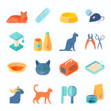 Healthy indoor cat flat icons set Royalty Free Stock Photography