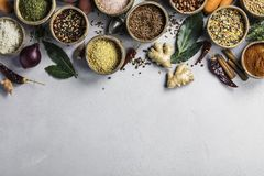 Healthy Ingredients And Spices On Rustic Murble Background Stock Photography