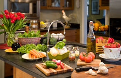 Healthy ingredients laid out on counter. Stock Images
