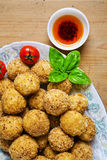Healthy Italian Appetizer Platter with Risotto balls Arancini , Royalty Free Stock Images