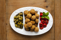Healthy Italian Appetizer Platter with Risotto balls Arancini , Stock Photo