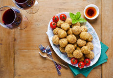 Healthy Italian Appetizer with Risotto Balls Arancini , green Ol Stock Photography