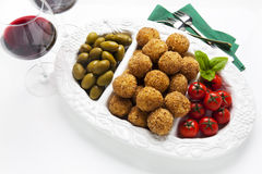 Healthy Italian Appetizer Tray with Risotto balls Arancini , Gre Stock Photos