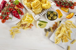 Healthy Italian Food Ingredients On A Whiete Wooden Background. Stock Image