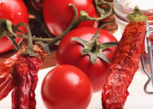 Healthy Italian Raw Food: cherry tomatoes,red chil Royalty Free Stock Photos