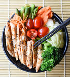 Healthy Japanese Chicken Teriyaki. With streamed vegetables royalty free stock photos