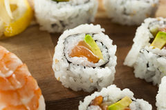 Healthy Japanese Salmon Maki Sushi Royalty Free Stock Photos