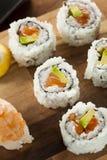 Healthy Japanese Salmon Maki Sushi Stock Images
