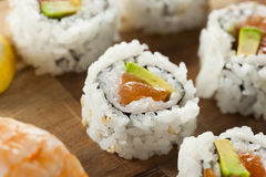 Healthy Japanese Salmon Maki Sushi Royalty Free Stock Image
