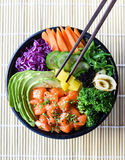 Healthy Japanese Salmon Poke Bowl. With streamed vegetables Royalty Free Stock Photography