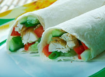 Healthy jerk chicken wraps royalty free stock photography