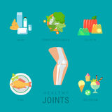 Healthy joints lifestyle flat vector infographic: diet, fitness Stock Photography