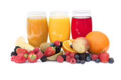 Healthy juice and fruit Stock Images