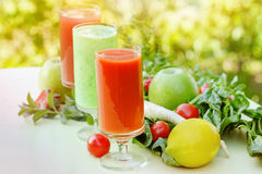 Healthy juice and smoothies stock photography