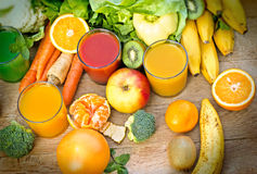Healthy juices - refreshing beverages. Made with  fresh organic fruits and vegetables Stock Photo