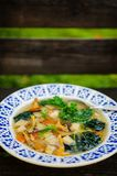 Healthy kale and mushrooms soup Stock Photos