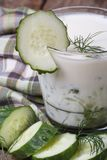 Healthy kefir with cucumber and dill Stock Image