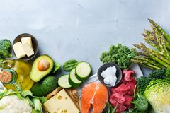 Healthy ketogenic low carb food for balanced diet. Balanced diet nutrition keto concept. Assortment of healthy ketogenic low carb food ingredients for cooking on stock photo