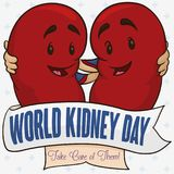Healthy Kidney Partners Behind Ribbon Celebrating World Kidney Day, Vector Illustration. Healthy kidneys hugging each other like partners behind a greeting Royalty Free Stock Image