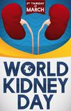 Healthy Kidneys Promoting Health Care in World Kidney Day, Vector Illustration. Poster with healthy pair of kidneys over wave pattern and yellow bands to promote Stock Photo