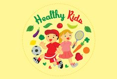 Healthy Kids Sport and Good Nutrition Vector Illustration. For many purpose such as kids club logo, stationary, website, banner, etc stock illustration