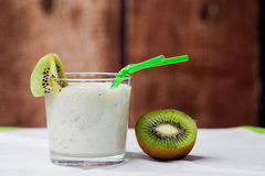 Healthy kiwi smoothie in a glass. Selective focus Royalty Free Stock Photography