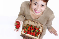 Healthy Lady And Strawberry Stock Photography