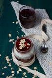 Healthy layered dessert with  homemade yogurt, with jam and  gra Stock Photography