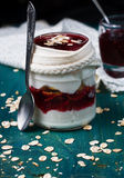 Healthy layered dessert with  homemade yogurt, with jam and  gra Royalty Free Stock Photography