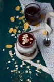 Healthy layered dessert with  homemade yogurt, with jam and  gra Stock Photos