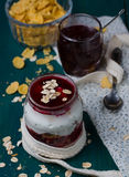 Healthy layered dessert with  homemade yogurt, with jam and  gra Stock Image