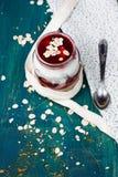 Healthy layered dessert with  homemade yogurt, with jam and  gra Royalty Free Stock Photos