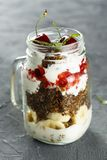 Healthy layered dessert in the jar stock images