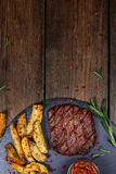 Healthy lean grilled medium-rare beef steak royalty free stock photo