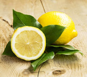 Healthy Lemon Fruit with Leaves Royalty Free Stock Photo