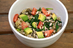 Healthy lentil and whole grain brown rice salad. With veggies stock photo
