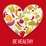 Healthy life. Cartoon style heart with healthy vegitables. Vector illustration Stock Image